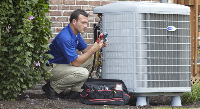 Clarkstown worker servicing HVAC unit